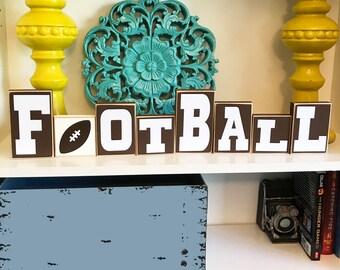 Football Blocks Decor Decoration Man Cave Sign Sport Home