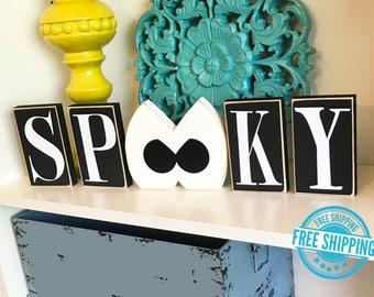 Spooky Eyes Blocks, Halloween Decor, Halloween Decorations, Halloween Sign, Wood Halloween Sign, Halloween Blocks, Halloween Eyes Sign
