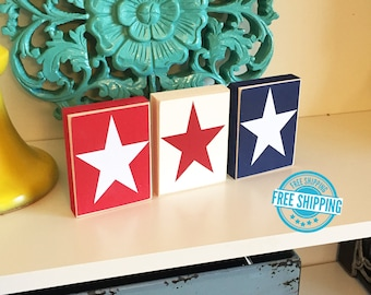 Stars Trio Blocks- 4th of July Blocks, Independence Day, Americana, 4th of July Decor, Summer Decor, Patriotic Decor, Red white and blue