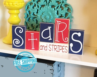 Stars & Stripes Blocks- 4th of July Decor, Fourth of July Decor, Fourth of July Sign, Americana, Summer Decor, Summer Sign