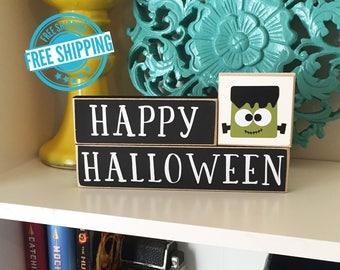 Happy Halloween Blocks- Halloween Decor, Fall Decor, Halloween Blocks, Halloween Sign, Pumpkin Decor, Halloween Decorations, Holiday Blocks,