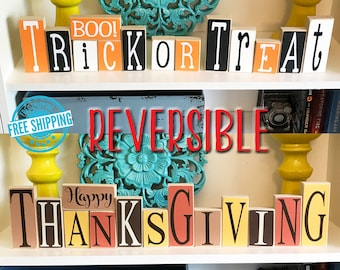Reversible Halloween Thanksgiving Decor- Halloween Decor, Thanksgiving Decor, Reversible Decor, Trick or Treat Sign, Thanksgiving Sign,