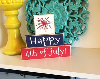 Happy 4th of July Stackers- 4th of July Decor, Fourth of July Decor, Americana, Summer Decor, 4th of July sign, Fourth of July Sign,