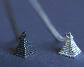Pyramid Necklace | Silver Charm Pendant | Ancient Egyptian Pyramid Jewellery | Handmade in Sterling Silver | UK Shop