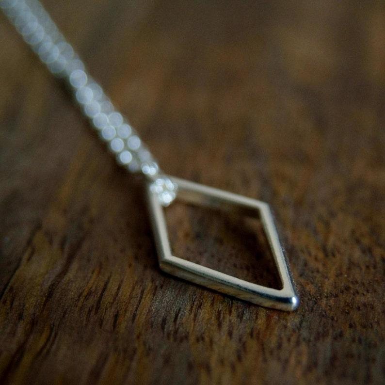 Silver Rhombus Pendant Silver Geometric Pendant Necklace Line Jewellery Diamond Shape Handmade sterling silver UK shop