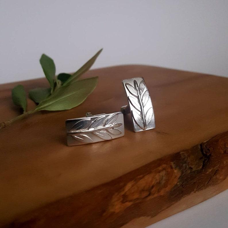 Mens Handmade Sterling Silver Cufflinks Olive Branch Cufflinks
