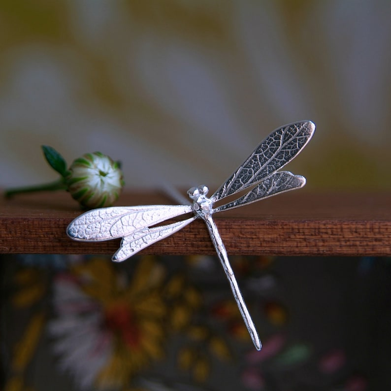 Dragonfly Necklace Sterling Silver Handmade Dragonfly Pendant image 0