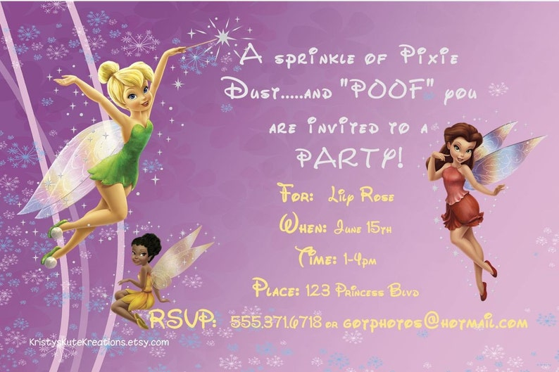 Disney/'s Fairies Invitation OR Thank you card DIGITAL