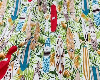 Quilt Cotton Fabric Chic Retro Safari Surf Board Tropical Ivory Fat Quarter Half Yard or Yard