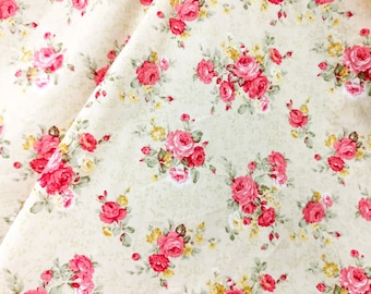 Quilt Cotton Fabric Pink English Floral Roses in Cream Half Yard or Yard