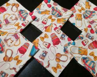 "Quilt Cotton Fabric 40 Charm Pack 5x5"" Squares Retro Vintage Travel Fashion Accessories Pattern"