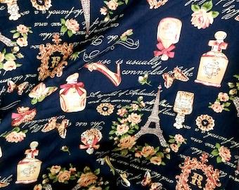 Quilt Cotton Fabric France Paris Fashion Perfume Roses Blue Fat Quarter Half Yard