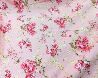 Quilt Cotton Fabric Retro English Floral Roses in Pink Fat Quarter Half Yard or Yard