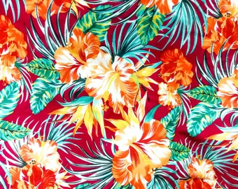 Quilt Cotton Fabric Vintage Colorful Tropical Flower Deep Red Fat Quarter Half Yard or Yard
