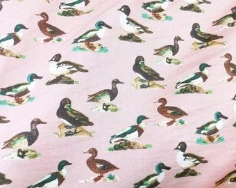 Quilt Cotton Fabric Retro Vintage Duck in Pastel Pink Half Yard or Yard