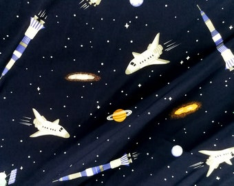 Quilt Cotton Fabric Child Travel to Space Space Shuttle Blue Fat Quarter Half Yard or Yard