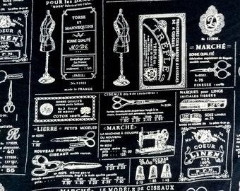 Quilt Cotton Fabric Craft Sewing Fashion France Vintage Navy Blue Fat Quarter Half Yard