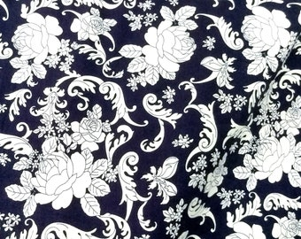 Quilt Cotton Fabric Chic Retro White French Floral Roses in Navy Blue Fat Quarter Half Yard or Yard