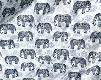 Quilt Cotton Fabric Vintage Retro Tribal Elephant Blue White Fat Quarter Half Yard or Yard