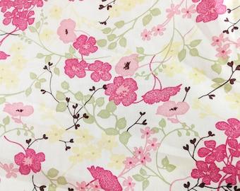 Quilt Cotton Fabric Japanese Pink Flower Yellow Green Fat Quarter Half Yard
