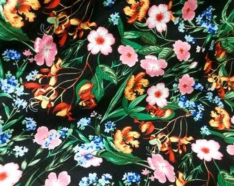 Quilt Cotton Fabric Retro Vintage 70's Amazon Tropical Floral Pattern Fat Quarter Yard