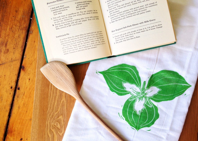 wood block print trillium tea towel by color.joy