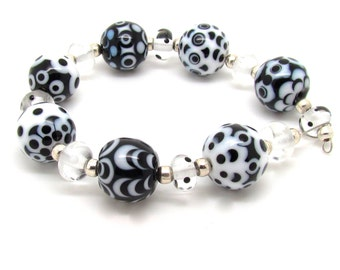 Monochrome Beads, Black and White Beads, Lampwork Bead Set, FHFteam, UK, SRA