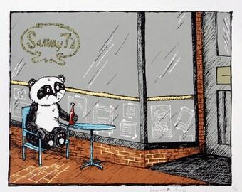 Panda Bear has a Beer at Sammy Ts -Screen print