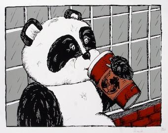 Panda Bear Enjoys a Latte at Hyperion Espresso - Screen print