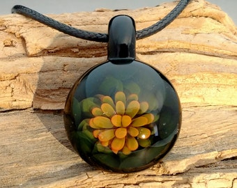 Gold Fumed Floral Blown Glass Pendant, Flower Trippy Glass Pendant, Boro Lampwork Focal Bead, Choice of Necklace Free (FG11239A)