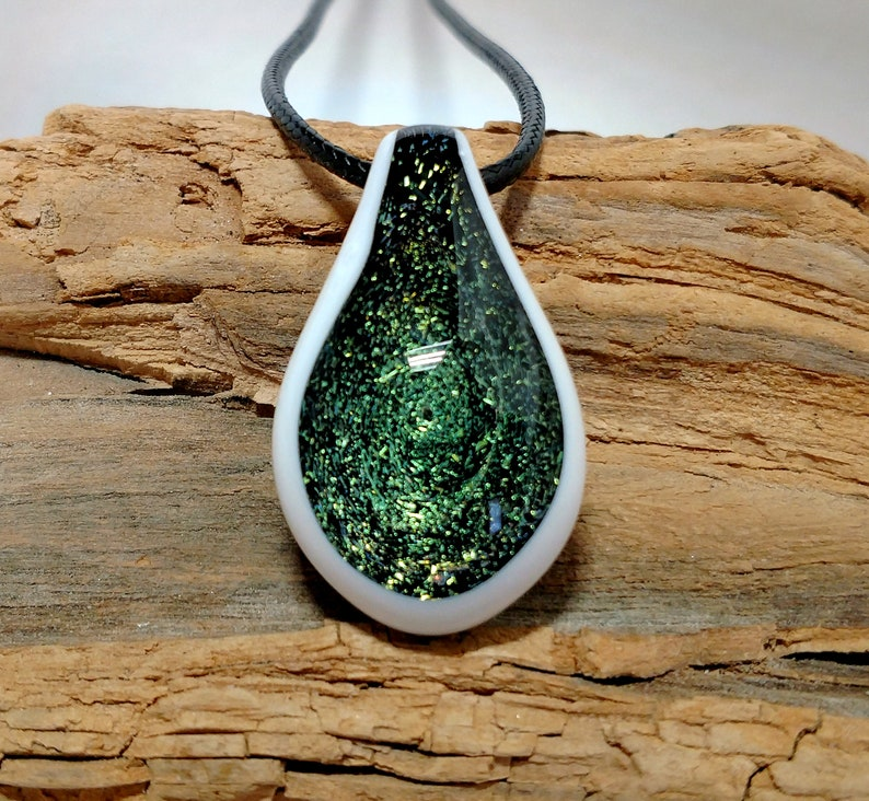 Green Galaxy Blown Glass Pendant Necklace  Trippy Pendant  image 0
