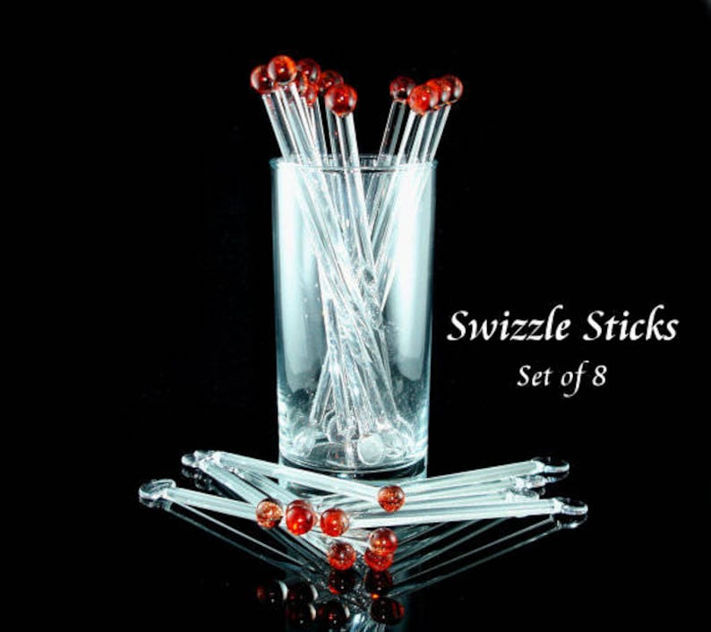 Red Glass Swizzle Sticks  Glass Drink Stirrers  Coffee image 0
