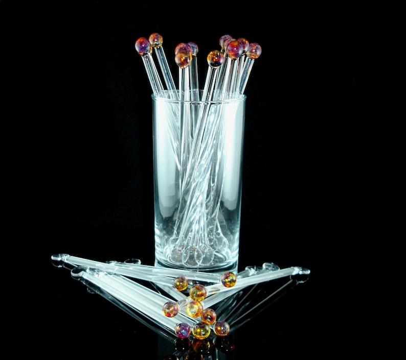 Glass Swizzle Sticks Glass Drink and Cocktail Stirrers Glass image 0