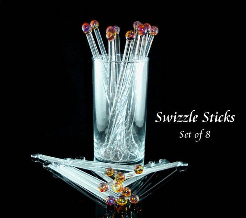 Glass Swizzle Sticks Glass Drink Stirrers Blown Glass Stir image 0
