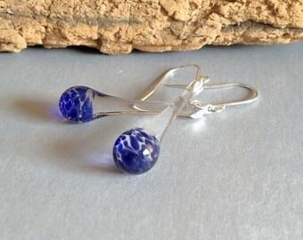 Blown Glass Earrings Blue Tear Drop Dangle Lampwork Boro and Silver