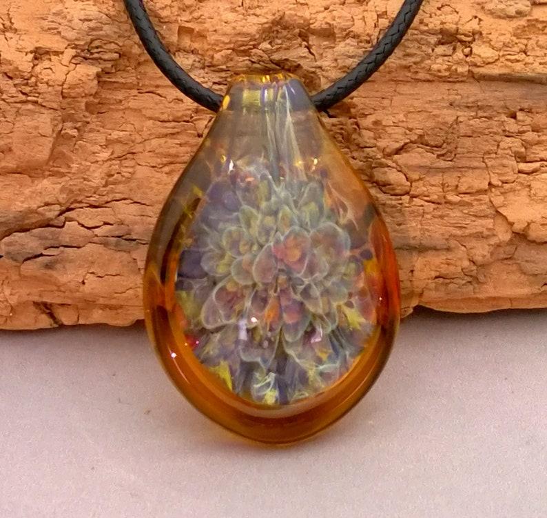 Burst of Color Blown Glass Pendant Necklace  Trippy Pendant  image 0