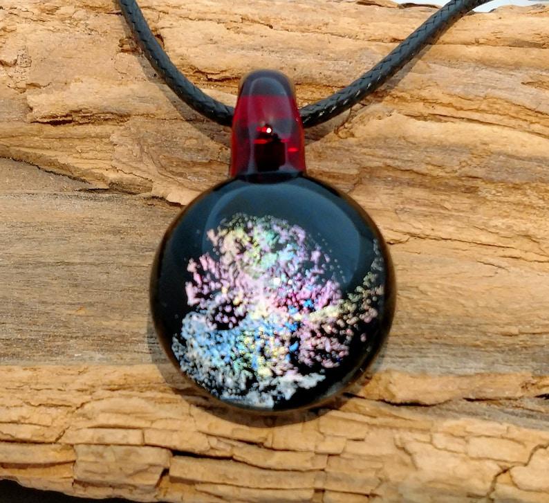 Rainbow Galaxy Dichroic Glass Pendant Necklace  Trippy image 0