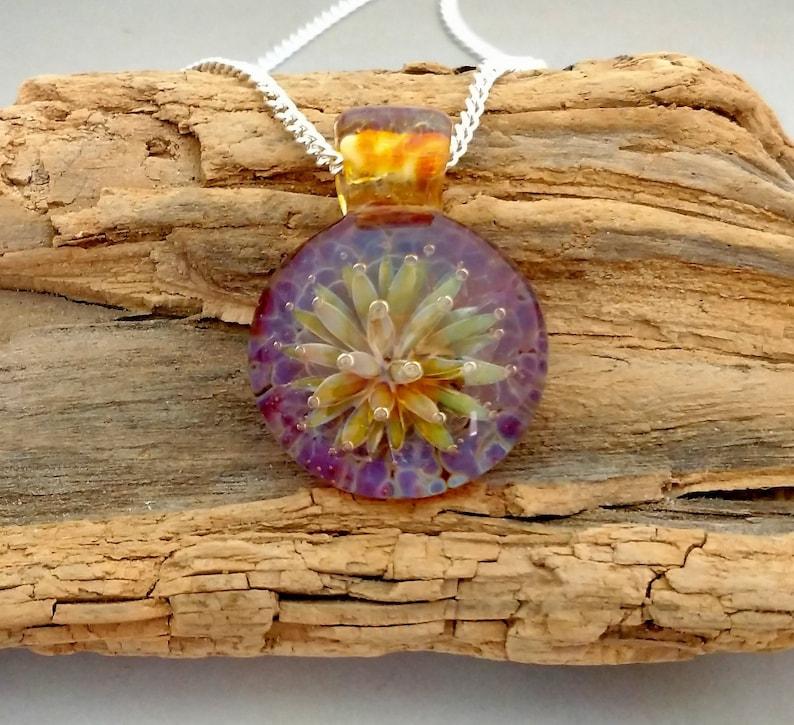 Blown Glass Pendant  Sea Anemone  Flower Trippy Glass image 0