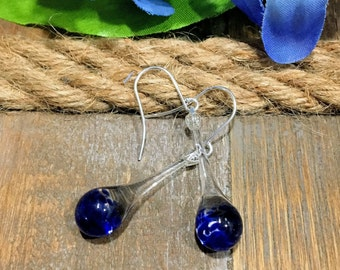Blue Blown Glass Earrings Tear Drop Dangle Lampwork Boro and Silver
