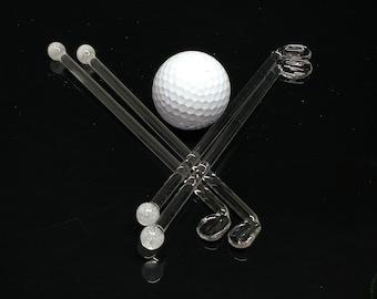 Golf Glass Drink & Coffee Stir Sticks Swizzle Sticks Blown Glass Beautiful Functional by J Hills Glass Art (Set of 4)