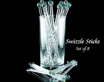 Swizzle Sticks Glass Drink Stirrer - Coffee Stirrer - Glass Swizzle Sticks - Boro - Lampwork Glass - Aquatic Blue - Set of 8