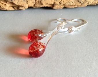 Glass Earrings Red Dangle Lampwork Boro and Silver (ECR)