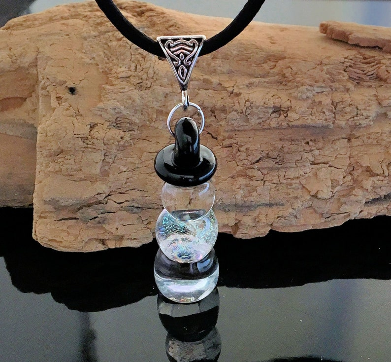 Blown Glass Pendant  Glass Snowman  Handmade Necklace  image 0