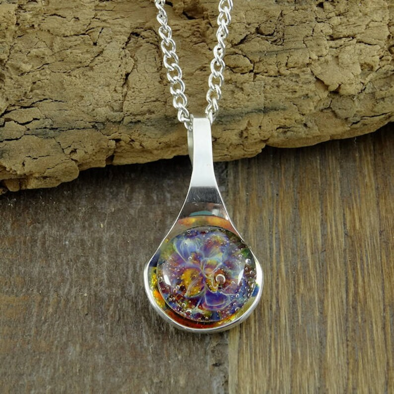 Memorial Necklace Cremation Pendant Pet Ashes Sterling image 0