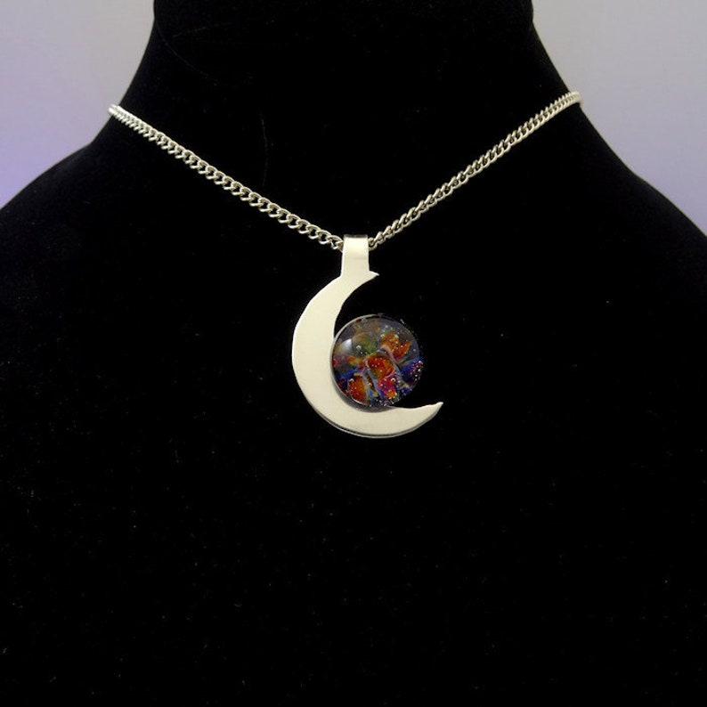 Memorial Necklace Crescent Moon Cremation Pendant Pet image 0