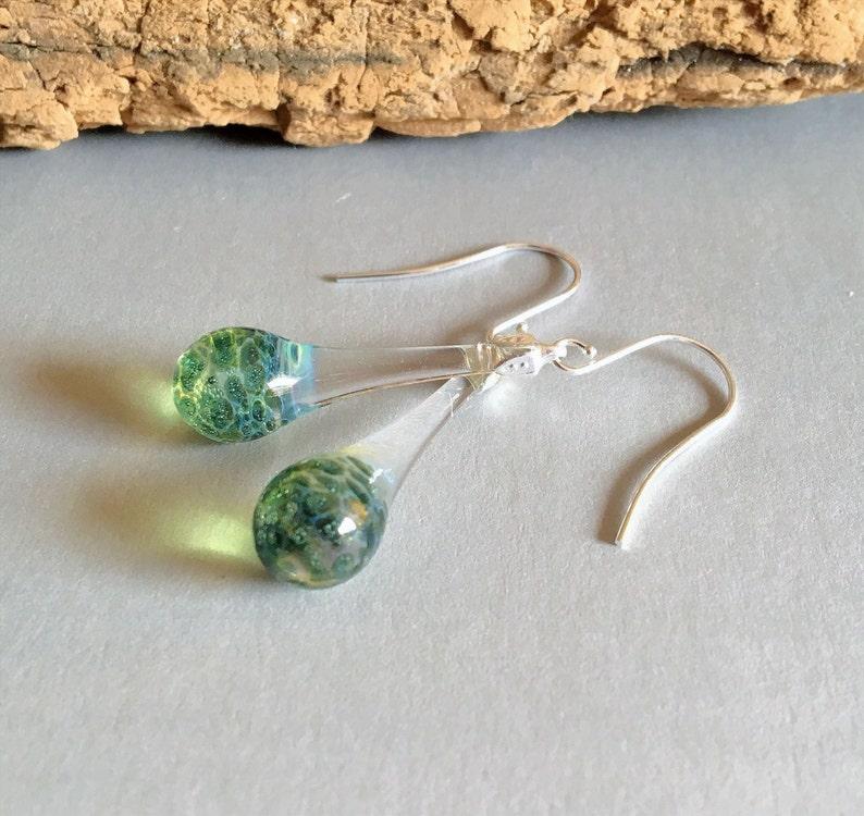 Drop Earrings Blown Glass Aqautic Blue Tear Drop Dangle image 0