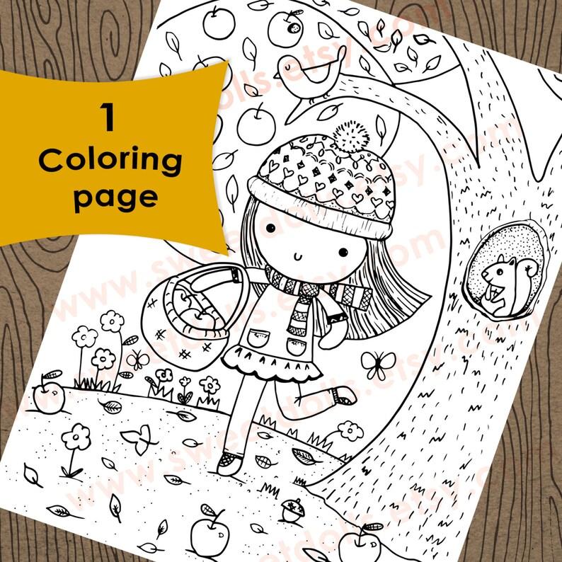 1 Manzana Recogida En Una Página Para Colorear Día De Otoño Página Para Colorear De Otoño Los Niños Página Para Colorear