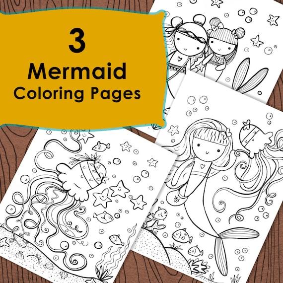 3 Mermaid Coloring Pages Under The Sea Ocean Fun Mermaid Etsy