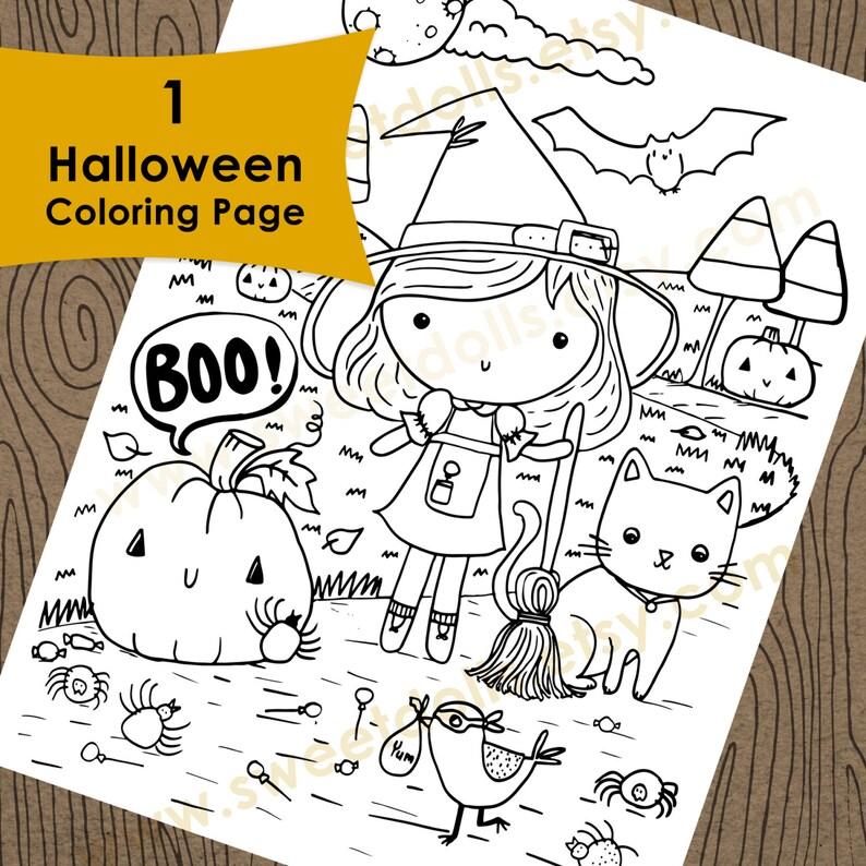 Leuke Kleurplaten Halloween.1 Leuke Halloween Kleurplaten Pagina Kids Downloadbare Etsy