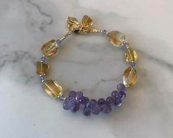 Golden Citrine and Purple Amethyst Luxe Gold Filled Bracelet